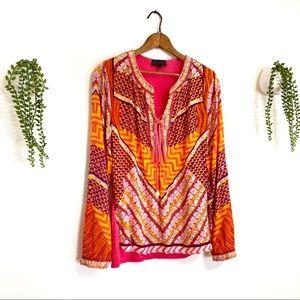 Hale Bob Raspberry & Orange Silk Tunic